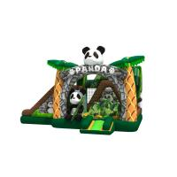 Quality Lovely inflatable panda themed combo with double slide beside the bouncer inflatable pande cartoon in combo for sale