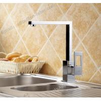China hot and cold sink mounted square kitchen brass faucet deck mounted chrome plating brass kitchen faucet on sale