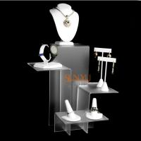 Quality Elegant Four Tier White Acrylic Display Stand , Retail Jewellery Display Stands Frost Platform Riser for sale
