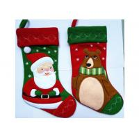 Quality Fashion Red Christmas Stocking , Patchwork Embroidered Christmas Stockings for sale