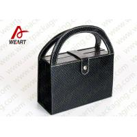 Quality Black Textured Leather Cosmetic Paper Box With Handle & Powder Compact for sale