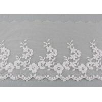Ivory Cotton Lace Trim With Floral Lace Design Nylon Net For Bridal Dress Ribbon for sale