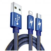 China 2 In 1usb Data Cable , Usb Data And Charging Cable Jeans Fabric For Android And Ios Phones on sale