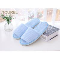 Quality Fresh Blue Coral Fleece Disposable Hotel Slippers Open Toe Customised Size for sale
