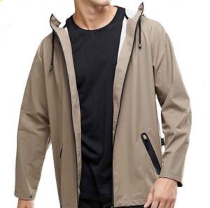 Quality Waterproof Hooded Anorak Rain Jacket / Mens Fashion Raincoat Zip Fastening for sale
