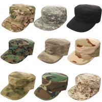Quality Military Camo Flat Top Army Cap Embroidery Logo / Fitted Strap Closure Available for sale