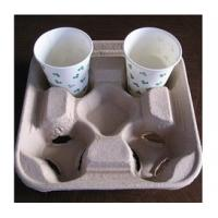 Quality Biodegradable Molded Pulp Products / Recycled Paper Pulp Products For Coffee Tray for sale