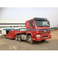 Quality Red HOWO 2 Axles Semi Trailer Trucks , Flat Low Bed Trailer 30 Ton for sale
