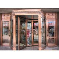 Quality Bronze Engraving Flower Hotel entrance automatic revolving door OEM service for sale