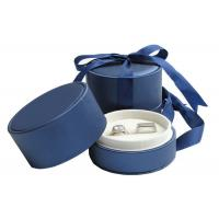 Quality Wedding Double Rings Jewelry Paper Boxes With Ribbon Dark Blue for sale