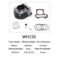 Quality WH150 Aluminum Motorcycle Cylinder Kit With Piston , Piston Ring , Pin , Clip And Gasket for sale