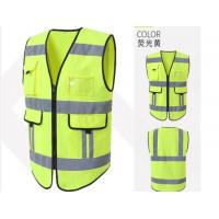 Quality Reflective Safety Vest , Anti Static Vest Yellow Polyester Mesh Material for sale