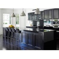 Quality European Pvc Kitchen Cabinets Waterproof Kitchen Units Black Color With Island Bench for sale