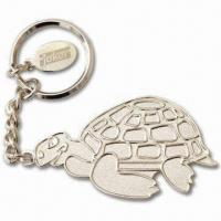 Quality Silver Balder Keychains with Small Tag with Laser-Engraved Logo, Made of Iron Material for sale