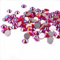 China 14 Facets Flat Back Rhinestone Beads Non Hot Fix Glass Material Round Shape on sale