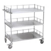 Quality Hospital Stainless Steel Carts On Wheels , Metal Trolley With Shelves And Siderail for sale