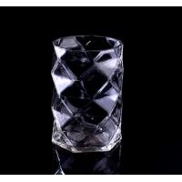 Quality Mouth Blown Clear Diamond small glass votive candle holders / Candle Jar for sale