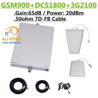 65dB GSM DCS 3G 900 1800 2100 MHz Tri Band Cellular Phone Signal Booster Repeater Amplifier+LPDS+Panel Antenna+15m 7D-FB for sale