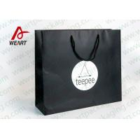 Quality Matt Black Branded Personalised Paper Carrier Bags For Party Nylon Rope for sale