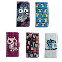 China Cute Cartoon Owl Stand Wallet Flip LG Cell Phone Covers Light Weight on sale