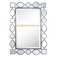 Quality Factory Direct Price Metal Geometric Drawing Decorated Rectangle Living Room Wall Mirror for sale