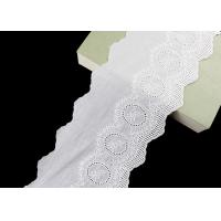 14CM Width Cotton Lace Trim Edging With Floral Pattern Scalloped Via OEKO TEX for sale