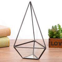 Triangle High Diamond Shaped Geometric Glass Terrarium for Air Plant Flowerpot for sale