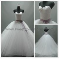 Quality Ball Gown Sweetheart Beading Satin Belt Lace and Tulle Wedding Dress AS4101 for sale