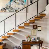 Buy cheap indoor straight staircase,wooden floating staircase with glass balustrade from wholesalers