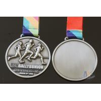 Quality Half Marathon Or 10K Running Custom Sports Medals Antique Silver Plating Sublimated Ribbon for sale