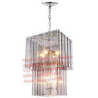 China YL-L1081 Modern 2 Tier Chrome Metal Frame Acrylic Crystal Droplets Ceiling Pendant Light Chandelier on sale