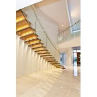 Buy Clear glass railing floating stair with Led light at wholesale prices