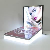 Buy LED Luminous Acrylic Counter Display Stands Striped Surface For Beauty Products at wholesale prices