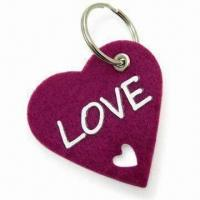 Quality Lovely Heart-shape Fancy Keychain, made of 3mm Thick Felt, Measures 6 x 6cm for sale