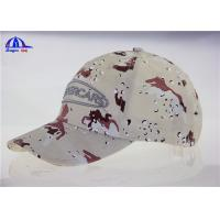 Quality 6 Panel Embroidery  Camo Baseball Caps , Custom Cotton Baseball Hats for College for sale