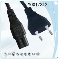 VDE 2 round pin copper wire Power cord with vertical plug and socket for sale