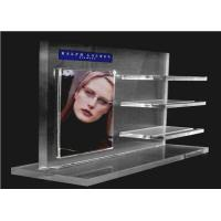 Quality Recycled Acrylic Cosmetic Display Floor Stand Transparent With Poster Holder for sale
