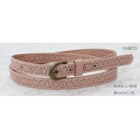 Quality Old Brass Buckle Pink PU Ladies Stretch Belts With Punching Patterns for sale