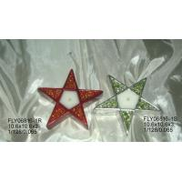 Quality Star Shape Ceramic Christmas Gift Tealight Holder With Hand Painting 10.5 X 10.5 X 3 Cm for sale