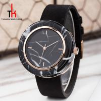 China Black Marble Face Watch Mens Genuine Leather Straps Water Resistant 3 Atm on sale