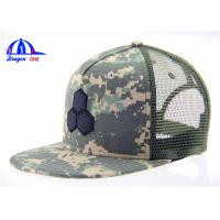 Quality OEM 55% Cotton Camo 45% Polyester Mesh Trucker Hats ,  Fashion Baseball Cap for sale