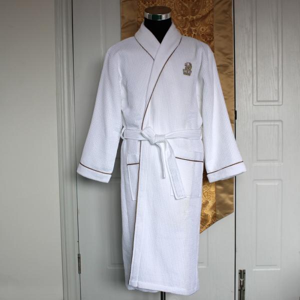 100% Cotton White Hotel Waffle Bath Robe(SQNC2015056B)