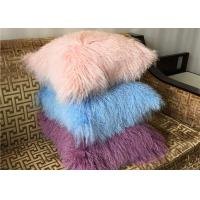 Quality Mongolian fur Pillow Luxurious Dyed Real Long Hair Sheep Fur Throw For home for sale