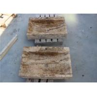 Limestone Rectangle Stone Vanity Bowl Natural Stone Vessel Bathroom Sinks With Honed Finish for sale