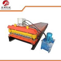 China Metal Decking Floor Trapezoid Sheet Cold Roll Forming Machine PLC Control Style on sale