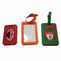 Quality Promotional Luggage Tag, Made of Silicone, Eco-friendly, Various Shapes/Sizes/Logos/Colors Available for sale