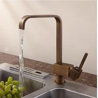 China Antique Inspired Solid Brass Kitchen Faucet Antique Brass Finish T0718A on sale