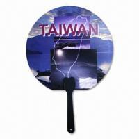 Quality Round Hand Fans with CMYK Design on Both Sides for sale