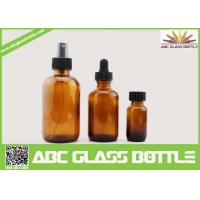 Quality 4oz 2oz 1oz 1/2oz 120ml 60 ml 30ml 15ml Amber Boston Round Glass Bottle For Essential Oil Use for sale