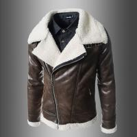 Quality Fashion Winter Sheepskin Lined Leather Jacket , Mens Faux Leather Aviator Jacket for sale